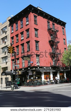 NEW YORK - MAY 7, 2015: Famous Pete's Tavern in Gramercy Park Historic District. It is  one of the oldest continuously operated tavern in the city, made famous by writer O. Henry - stock photo