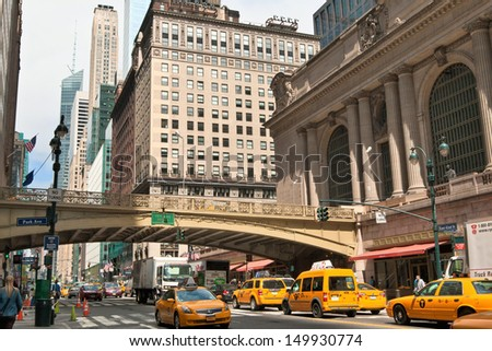 NEW YORK - MAY 7: Grand Central Station on May 7, 2013, in New York City. Building facade from a street view. - stock photo