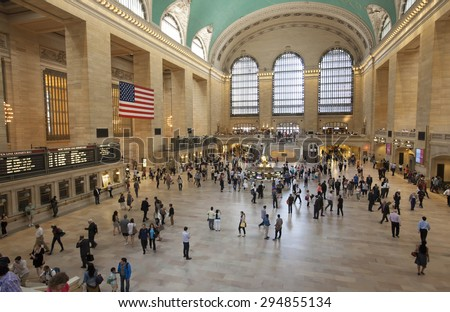 NEW YORK - May 27, 2015: Grand Central Terminal  is a commuter railroad terminal at 42nd Street and Park Avenue in Midtown Manhattan in New York City, United States. - stock photo