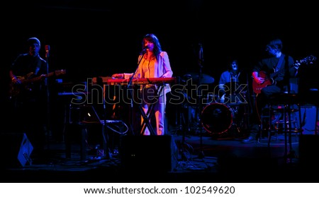 NEW YORK - MAY 09: Heather Greene, Adam Williams guitar, Mino Gori drums, Brad Craig bass perform as part of NYC Undead Jazz Festival at Le Poisson Rouge on May 09, 2012 in New York City - stock photo