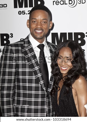 NEW YORK - MAY 23: Jada Pinkett Smith and Will Smith attend the 'Men In Black 3' New York Premiere at Ziegfeld Theatre on May 23, 2012 in New York City. - stock photo