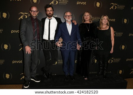 NEW YORK-MAY 21: (L-R) Damon Lindelof, Justin Theroux, Tom Perrotta, Mimi Leder and Ann Dowd attend the 75th Annual Peabody Awards Ceremony at Cipriani Wall Street on May 21, 2016 in New York City. - stock photo