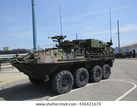 NEW YORK - MAY 26, 2016: Light Armored Vehicle-Command and Control (LAV-C2) presented during Fleet Week 2016 in New York