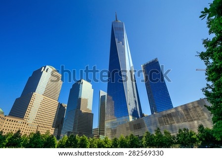 NEW YORK - MAY 29 : One World Trade Center on May 29, 2015.  It is the tallest skyscraper in the Western Hemisphere - stock photo