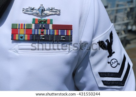 NEW YORK - MAY 26, 2016: US Navy military ribbons on United States Navy Uniform in New York - stock photo