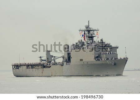 NEW YORK - MAY 21: USS Oak Hill dock landing ship of the United States Navy during parade of ships at Fleet Week 2014 on May 21, 2014 in New York Harbor