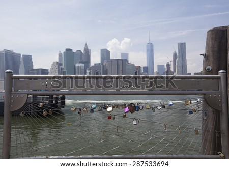 NEW YORK - May 28, 2015: View of Manhattan from Brooklyn Heights Park as seen on May 28,2015.