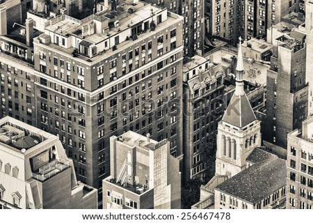 New York, Midtown Manhattan aerial view of old city buildings. - stock photo