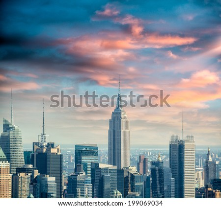 New York. Midtown Manhattan as seen from Helicopter. - stock photo
