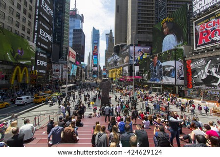 NEW YORK, N.Y., MAY 20, 2016 - Spring day at Times square in midtown Manhattan - May 20, 2016 in New York, NY