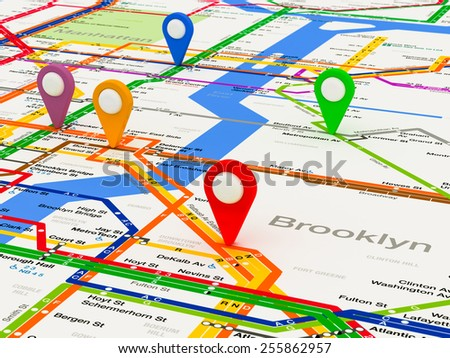 New York navigation subway map with colored pin