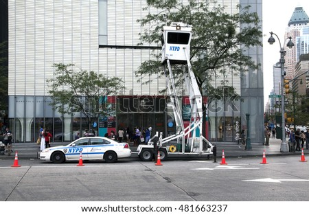 NEW YORK, NEW YORK - AUGUST 21: NYPD Sky Watch mobile surveillance tower parked on Columbus Circle.  Taken August 21, 2015 in  New York.