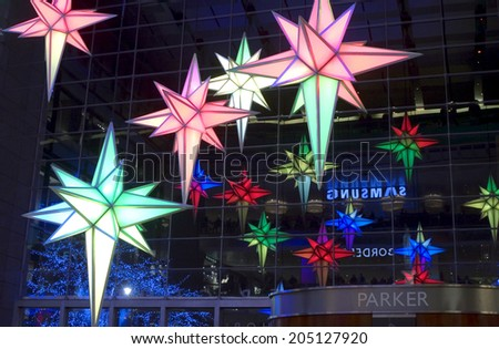 NEW YORK, NEW YORK - DECEMBER 30: Christimas light decorations inside Time Warner Building.   Taken December 30, 2010 in NYC. - stock photo