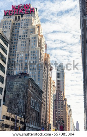 NEW YORK, NEW YORK - DECEMBER 27, 2013:  The New Yorker Hotel on 8th. Avenue built in 1929, famous for it's Art Deco style building