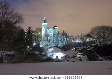 NEW YORK, NEW YORK - JANUARY 25: Belvedere Tower at night in Central Park.   Taken January 25, 2011 in New York City. - stock photo