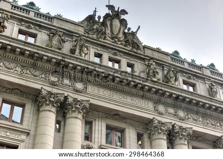New York, New York - July 15, 2015: Alexander Hamilton U.S. Custom House in Lower Manhattan, New York City. Now it is the  National Museum of the American Indian. - stock photo