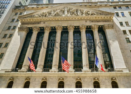 New York, New York - 16 July 2016: New York Stock Exchange Building in Wall Street, Lower Manhattan, New York City.
