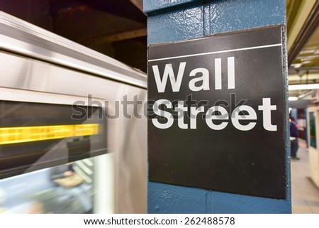 NEW YORK, NEW YORK - MARCH 11, 2015: MTA Wall Street Subway Station in Manhattan, New York.