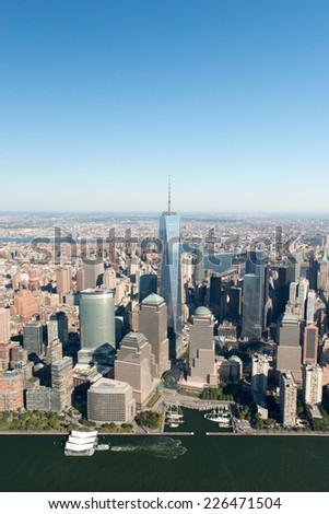 NEW YORK, NEW YORK - SEPTEMBER 27, 2014: Stunning aerial view of Manhattan, New York from a helicopter. - stock photo