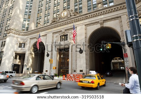 New York, New York, USA - June 20, 2011: The Helmsley Building at 230 Park Avenue. This building was originally the headquarters for the New York Central Railroad. - stock photo