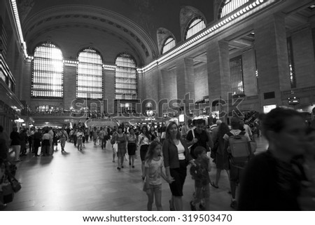 New York, New York, USA - June 20, 2011: The main councourse of Grand Central Terminal during a weekday afternoon rush hour. People can be seen making there way through the station. - stock photo