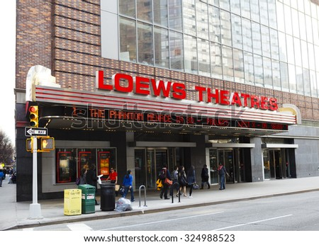 New York, New York, USA - March 8, 2012: The AMC Loews Lincoln Square movie theater complex located on the upper west side of Manhattan. People can be seen on the street.