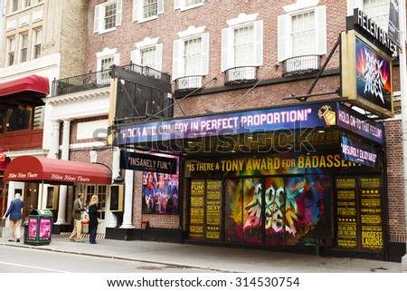 New York, New York, USA - May 1, 2011: The exterior of the Helen Hayes Theatre on 44th Street between Broadway and 8th Avenue in Manhattan. Pedestrians can be seen. - stock photo
