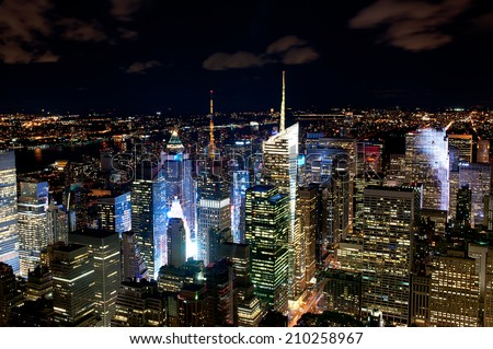New York night cityline