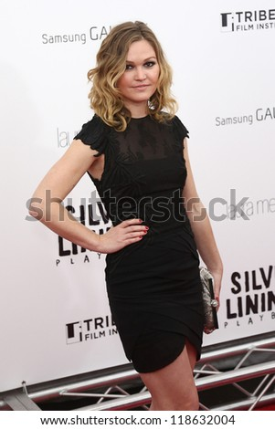 """NEW YORK-NOV 12: Actress Julia Stiles attends the premiere of """"Silver Linings Playbook"""" at the Ziegfeld Theatre on November 12, 2012 in New York City. - stock photo"""
