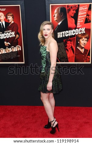 "NEW YORK-NOV 18: Actress Scarlett Johansson attends the premiere of ""Hitchcock"" at the Ziegfeld Theatre on November 18, 2012 in New York City. - stock photo"