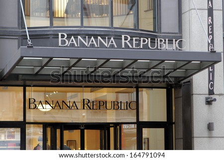 NEW YORK - NOV 27: An exterior view of a Banana Republic retail store in New York City, on November 27, 2013. Many shoppers have been previewing merchandise in preparation for Black Friday shopping.