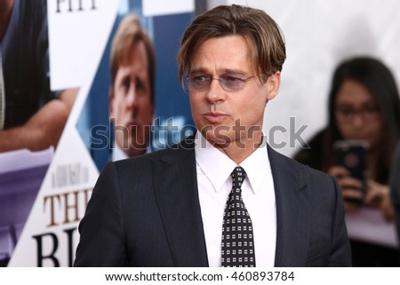 "NEW YORK - NOV 23, 2015:  Brad Pitt attends the premiere of ""The Big Short"" at the Ziegfeld Theatre on November 23, 2015 in New York City."