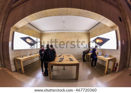 NEW YORK - NOV 1: Custoemers visit Apple Store at Grand Central Station on Nov 1, 2015 in New York, USA.