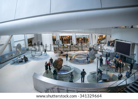 NEW YORK - NOV 17, 2015: inside the planetarium in American Museum of Natural History in NYC. AMNH is a famous museum in Manhattan, NYC, USA. - stock photo