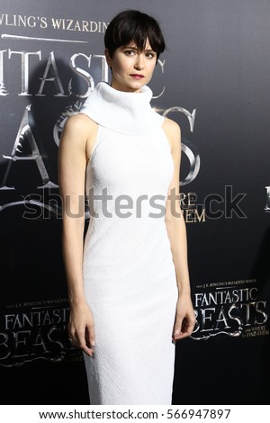 "NEW YORK - NOV 10, 2016:  Katherine Waterston attends the premiere ""Fantastic Beasts And Where To Find Them"" at Alice Tully Hall on November 10, 2016, in New York City."