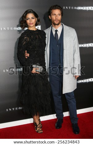 "NEW YORK - NOV 3, 2014: Matthew McConaughey and Camila Alves attend the premiere of ""Interstellar"" at the AMC Lincoln Square Theater on November 3, 2014 in New York City."