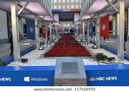 NEW YORK - NOV 04:NBC News transform the Rockefeller Center into Democracy Plaza, an interactive and innovative experience celebrating American democracy in New York city on November 4, 2012 - stock photo