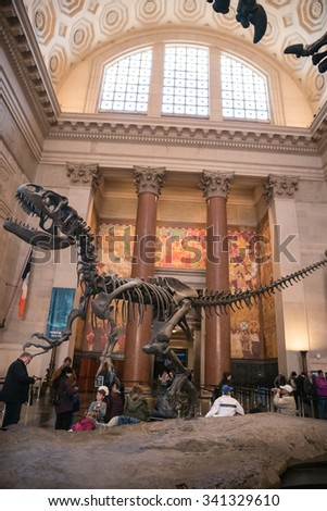 NEW YORK - NOV 17, 2015: T-Rex skeleton fossils in dinosaur exhibit room in main lobby of American Museum of Natural History in New York City. AMNH is a famous museum in Manhattan, NYC, USA. - stock photo