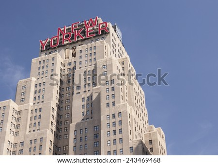 NEW YORK - NOV 20 : The New Yorker Hotel on 8th. Avenue built in 1929, famous for it's ART Deco style building on November 20, 2010 in New York, New York.  - stock photo