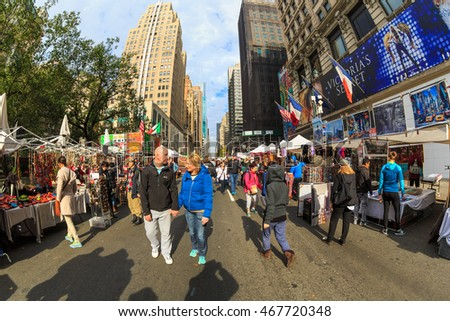 NEW YORK - NOV 2: Walking Street of New York on Nov 2, 2015 in New York, USA.