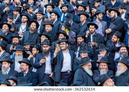 NEW YORK - NOVEMBER 8: A group of shluchim, Jewish emissaries, at The Kinus Hashluchim, International Conference of Chabad-Lubavitch Emissaries, in Crown Heights, Brooklyn, NY on November 8, 2015.