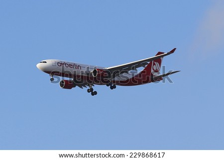NEW YORK - NOVEMBER 11: Air Berlin Airbus A330 in New York sky before landing at JFK Airport on November 11, 2014. Air Berlin is Germany's second largest airline and Europe's seventh largest airline