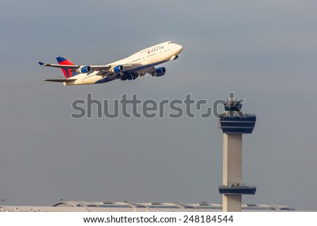 NEW YORK - NOVEMBER 3: Boeing 747 Delata takes off from JFK Airport in New York, NY on November 3, 2013. Boeing 747 was the worlds largest aircraft for 40 years up until the A380 was created. - stock photo