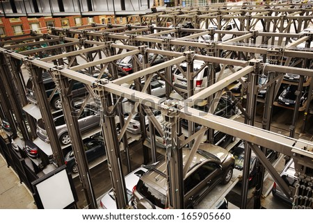NEW YORK, NOVEMBER 20: Cars park in Automated parking system in new york city on 20 nov 2010. Because the high usage of public transportation, New York is one of low usage of private car. - stock photo