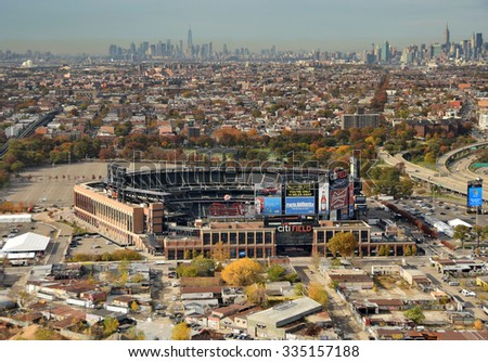 NEW YORK - NOVEMBER 3, 2015: Citi Field in Queens New York City awaits the crowds for the next game of the New York Mets on November 3, 2015 aerial view - stock photo