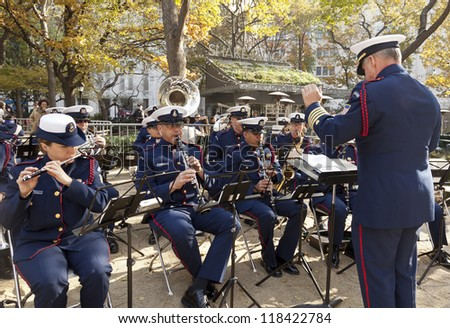 NEW YORK - NOVEMBER 11: Coast Guards brass band plays music at opening ceremony Veteran's Day Parade in Madison Square Park on November 11, 2012 in New York City