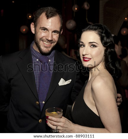 NEW YORK - NOVEMBER 15: DITA VON TEESE & GUEST CELEBRATE U.S. LAUNCH OF HER NEW TRAVEL ACCESSORY MY COINTREAU TRAVEL ESSENTIALS AT FORTY FOUR|ROYALTON on November 15, 2011 in NYC