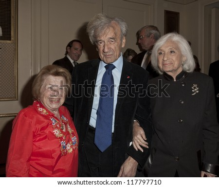 NEW YORK - NOVEMBER 5: Elie Wiesel & Dr. Ruth Westheimer attend Lenox Hill hospital Autumn ball, award ceremony and fundraising to hurricane SAndy victims in Waldorf Astoria on November 5, 2012 in NYC - stock photo