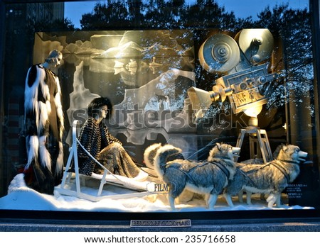 NEW YORK - NOVEMBER 18, 2014: Holiday window display at Bergdorf Goodman in NYC on November 18, 2014. - stock photo