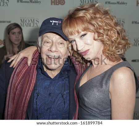 NEW YORK - NOVEMBER 7: Kathy Griffin & Jerry Stiller attend HBO 'Whoopi Goldberg presents Moms Mabley'  premiere at Apollo Theater on November 7, 2013 in New York City - stock photo